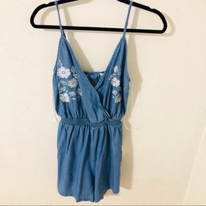 NWT Forever 21 Chambray Embroidered Romper Medium